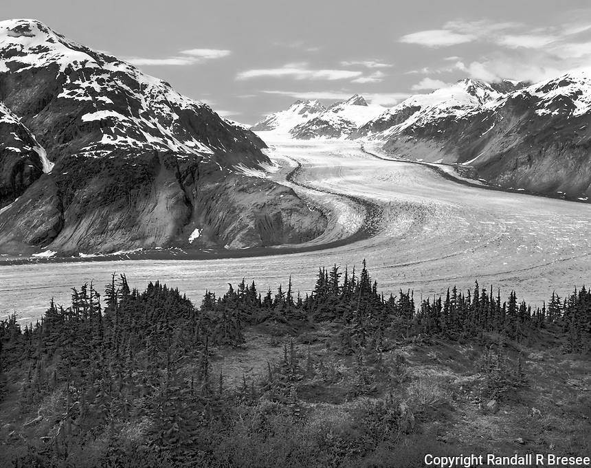 """""""Salmon Glacier"""" <br /> Alaska <br /> <br /> Salmon Glacier near Hyder, Alaska, is a sight that should not be missed. This black and white photograph shows a fantastic view of the glacier that is easily accessible from the road."""
