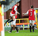 Dundee Utd's David Goodwillie (7) is congratulated by Dundee Utd's John Rankin after scores their fourth goal.