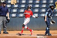 GREENSBORO, NC - FEBRUARY 22: Amanda Ulzheimer #7 of Fairfield University scores the game's first run during a game between Fairfield and North Carolina at UNCG Softball Stadium on February 22, 2020 in Greensboro, North Carolina.