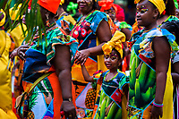 Afro-Colombian girls of the Alameda Reyes neighborhood take part in the San Pacho festival in Quibdó, Colombia, 2 October 2019. Every year at the turn of September and October, the capital of the Pacific region of Chocó holds the celebrations in honor of Saint Francis of Assisi (locally named as San Pacho), recognized as Intangible Cultural Heritage by UNESCO. Each day carnival groups, wearing bright colorful costumes and representing each neighborhood, dance throughout the city, supported by brass bands playing live music. The festival culminates in a traditional boat ride on the Atrato River, followed by massive religious processions, which accent the pillars of Afro-Colombian's identity – the Catholic devotion grown from African roots.