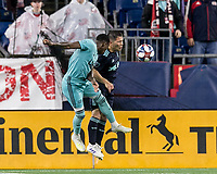 Foxborough, Massachusetts - April 20, 2019: In a Major League Soccer (MLS) match, New England Revolution (light blue) defeated New York Red Bulls (dark blue), 1-0, at Gillette Stadium.