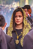 Guatemala , Antigua, girl at catholic procession of All saints day
