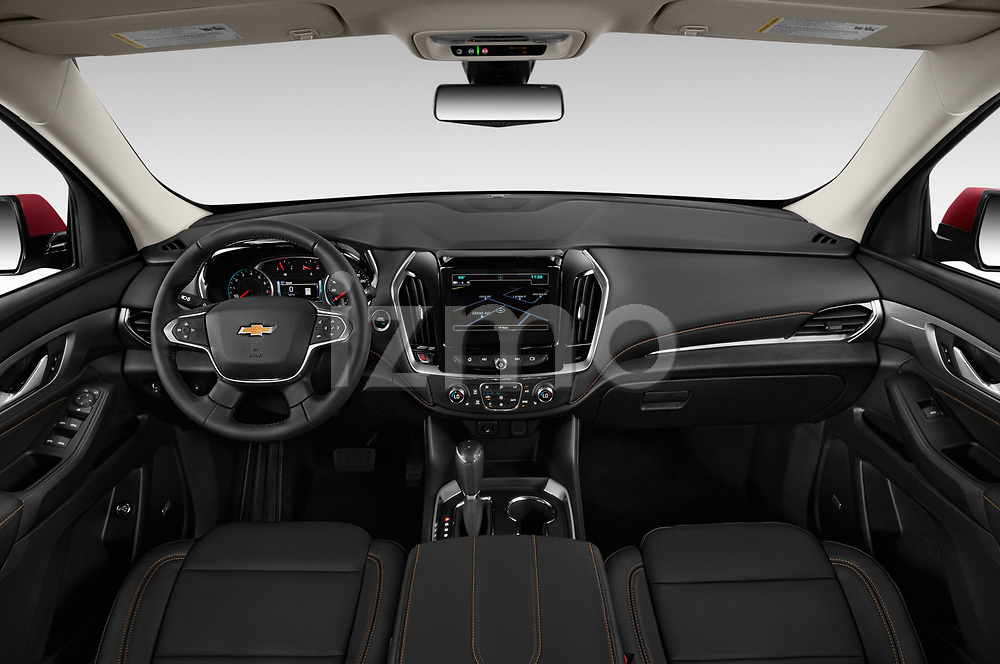 Stock photo of straight dashboard view of a 2020 Chevrolet traverse 3LT 5 Door SUV