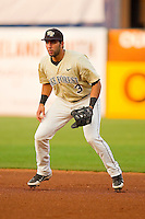 Wake Forest Demon Deacons first baseman Carlos Lopez #3 on defense against the Miami Hurricanes at NewBridge Bank Park on May 25, 2012 in Winston-Salem, North Carolina.  The Hurricanes defeated the Demon Deacons 6-3.  (Brian Westerholt/Four Seam Images)