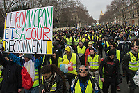 Tenth week of yellow vests protest against the neoliberal policies of president Macron. Paris, France 19-1-19