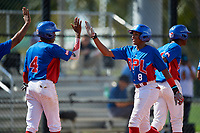 Raymond Mola (8) high fives teammates after hitting a home run during the Dominican Prospect League Elite Florida Event at Pompano Beach Baseball Park on October 14, 2019 in Pompano beach, Florida.  (Mike Janes/Four Seam Images)