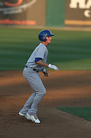 Matt Chapman (7) of the Stockton Ports leads off of second base during a game against the Rancho Cucamonga Quakes at LoanMart Field on June 13, 2015 in Rancho Cucamonga, California. Stockton defeated Rancho Cucamonga, 14-2. (Larry Goren/Four Seam Images)