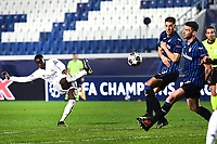 Ferland Mendy of Real Madrid scores the goal of 0-1 during the Champions League round of 16 football match between Atalanta BC and Real Madrid at Atleti azzurri d'Italia stadium in Bergamo (Italy), February, 24th, 2021. Photo Image Sport  / Insidefoto