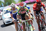 The breakaway group featuring Ahmet Akdilek (TUR) Torku Sekerspor, Malcolm Rudolph (AUS) Drapac Professional Cycling, Jarl Salomein (BEL) Topsport Vlaanderen-Baloise and Roy Jans (BEL) Wanty-Groupe Gobert during Stage 6 of the 2015 Presidential Tour of Turkey running 184km from Denizli to Selcuk. 30th April 2015.<br /> Photo: Tour of Turkey/Mario Stiehl/www.newsfile.ie