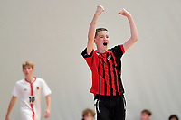 Jack Brown of Selwyn College celebrates after he scores during the during the Futsal NZ Secondary Schools Junior Boys Final between Hamilton Boys High School and Selwyn College at ASB Sports Centre, Wellington on 26 March 2021.<br /> Copyright photo: Masanori Udagawa /  www.photosport.nz