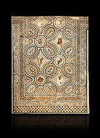 Pictures of a geometric Roman mosaics with animals & fruit, from the ancient Roman city of Thysdrus. 3rd century AD. El Djem Archaeological Museum, El Djem, Tunisia. Against a black background