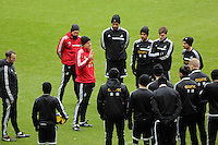 Wednesday 05 February 2014<br /> Pictured: Garry Monk speaking to his players<br /> Re: Swansea City FC training with Garry Monk as head coach after the departure of Michael Laudrup, at the Li Liberty Stadium, south Wales.