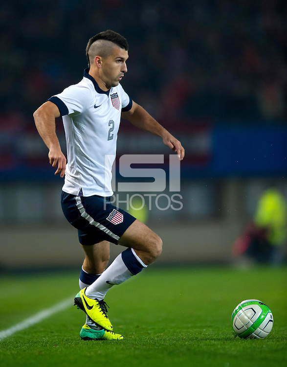 VIENNA, Austria - November 19, 2013: Eric Lichaj during a 0-1 loss to host Austria during the international friendly match between Austria and the USA at Ernst-Happel-Stadium.