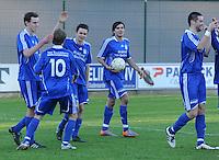 SC Wielsbeke - SK Sint-Niklaas : vreugde na het doelpunt van Sil Boeykens voor Sint-Niklaas.foto VDB / BART VANDENBROUCKE