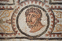 Picture of a Roman mosaics design depicting the Muses inside medallions, from the ancient Roman city of Thysdrus. 3rd century AD. El Djem Archaeological Museum, El Djem, Tunisia.