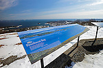 Signs at a viewpoint on top of Mt. Battie, Camden Hills State Park, Maine, USA.