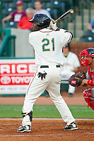 Rand Smith #21 of the Greensboro Grasshoppers at bat against the Lakewood BlueClaws at NewBridge Bank Park July 6, 2010, in Greensboro, North Carolina.  Photo by Brian Westerholt / Four Seam Images