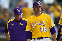 LSU Tigers head coach Paul Mainieri and shortstop Austin Nola #36 before the NCAA Super Regional baseball game against Stony Brook on June 10, 2012 at Alex Box Stadium in Baton Rouge, Louisiana. Stony Brook defeated LSU 7-2 to advance to the College World Series. (Andrew Woolley/Four Seam Images)