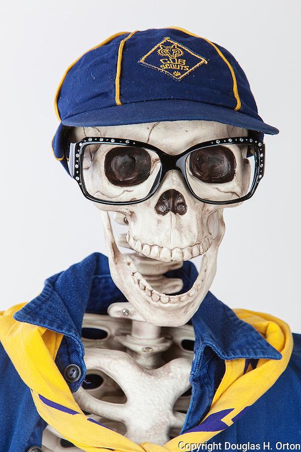 Skinney Skeleton dressed in vintage Cub Scout uniform.