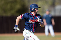Mike Marcinko (2) of the Shippensburg Raiders hustles down the first base line against the Belmont Abbey Crusaders at Abbey Yard on February 8, 2015 in Belmont, North Carolina.  The Raiders defeated the Crusaders 14-0.  (Brian Westerholt/Four Seam Images)