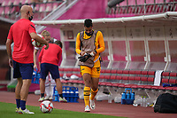 KASHIMA, JAPAN - AUGUST 2: Adrianna Franch #18 of the United States prepares to take the field and sub in during a game between Canada and USWNT at Kashima Soccer Stadium on August 2, 2021 in Kashima, Japan.