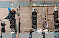 A power sub-station under construction, Changping, Guangdong, China. The southern province is experiencing power shortages and needs to increase the power supply..