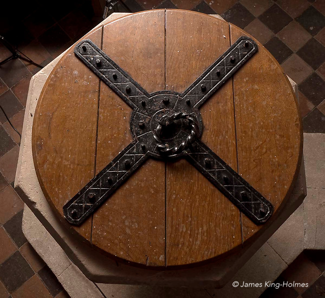 Detail of the iron-framed font cover of St Lawrence Church, Tubney, Oxfordshire, UK. This is the only Protestant church designed by Augustus Pugin. The interior fittings were designed by him and remain unchanged since its consecration in 1847.