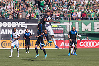 Portland, Oregon - Sunday October 6, 2019: Dairon Asprilla #27 and Marcos Lopez #27 challenge for the ball during a regular season match between Portland Timbers and San Jose Earthquakes at Providence Park in Portland, Oregon.