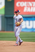 Reading Fightin Phils second baseman Scott Kingery (25) throws to first base for the out during a game against the Erie SeaWolves on May 18, 2017 at UPMC Park in Erie, Pennsylvania.  Reading defeated Erie 8-3.  (Mike Janes/Four Seam Images)