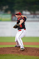 Batavia Muckdogs starting pitcher Taylor Braley (10) delivers a warmup pitch during a game against the West Virginia Black Bears on August 7, 2017 at Dwyer Stadium in Batavia, New York.  West Virginia defeated Batavia 6-3.  (Mike Janes/Four Seam Images)