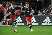 WASHINGTON, DC - MAY 13: Frederic Brilliant #13 of D.C. United dribbles the ball during a game between Chicago Fire FC and D.C. United at Audi FIeld on May 13, 2021 in Washington, DC.