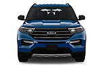 Car photography straight front view of a 2020 Ford Explorer XLT 5 Door SUV Front View