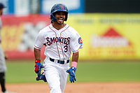 Tennessee Smokies left fielder Christian Donahue (3) hustles toward home plate against the Montgomery Biscuits on May 9, 2021, at Smokies Stadium in Kodak, Tennessee. (Danny Parker/Four Seam Images)