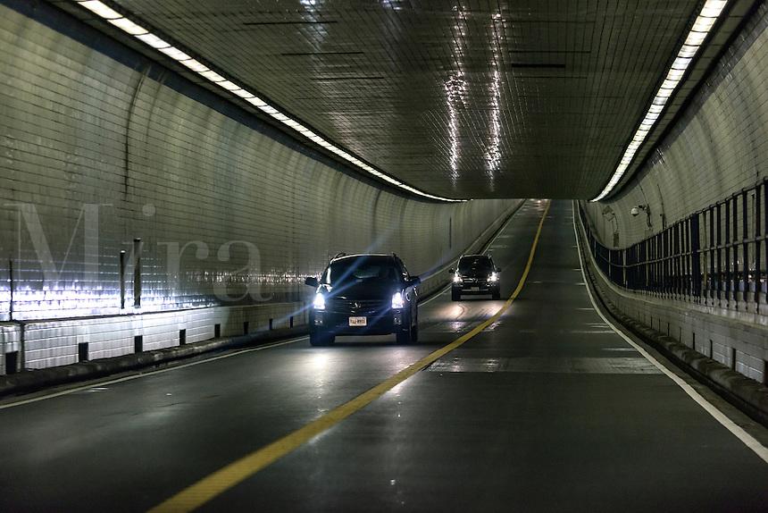 The Thimble Shoal Tunnel on the Chesapeake Bay Bridge, Maryland, USA