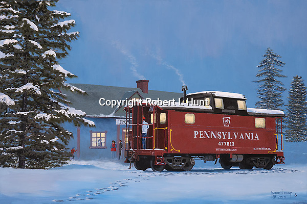 A Pennsylvania Railroad caboose in winter snow at the train station. It's a classic PRR N5 caboose built in 1941.