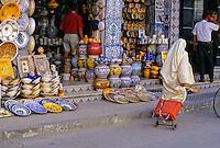 Ceramics, Nabeul, Tunisia.  Street Scene, Pottery Shop.
