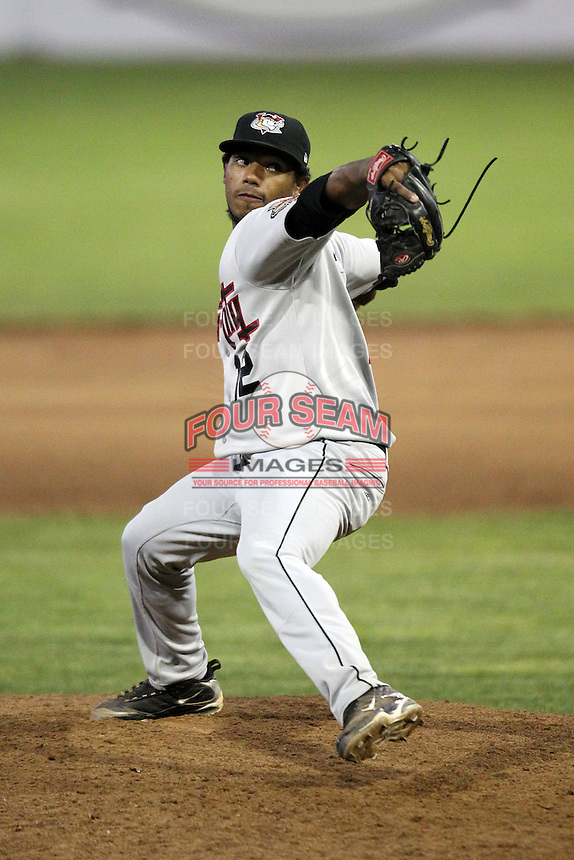Tri-City ValleyCats pitcher Dayan Diaz #12 during a game against the Batavia Muckdogs at Dwyer Stadium on July 14, 2011 in Batavia, New York.  Batavia defeated Tri-City 6-3.  (Mike Janes/Four Seam Images)