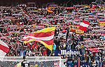 Supporters of Atletico de Madrid wave flags during their La Liga match between Atletico de Madrid and Granada CF at the Vicente Calderon Stadium on 15 October 2016 in Madrid, Spain. Photo by Diego Gonzalez Souto / Power Sport Images