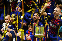 (180422) -- MADRID, April 22, 2018 (Xinhua) -- Lionel Messi (2nd R) and Andres Iniesta (1st R) celebrate during the awarding ceremony after the Spanish King's Cup final match between FC Barcelona and Sevilla in Madrid, Spain, on April 21, 2018. FC Barcelona claimed the title by defeating Sevilla with 5-0. (Xinhua/Guo Qiuda) - Guo Qiuda - *** Local Caption *** © pixathlon<br /> Contact: +49-40-22 63 02 60 , info@pixathlon.de