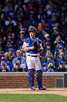 Chicago Cubs catcher David Ross (3) in the third inning during Game 5 of the Major League Baseball World Series against the Cleveland Indians on October 30, 2016 at Wrigley Field in Chicago, Illinois.  (Mike Janes/Four Seam Images)