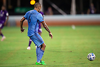 LAKE BUENA VISTA, FL - JULY 14: Alexander Callens #6 of NYCFC passes the ball during a game between Orlando City SC and New York City FC at Wide World of Sports on July 14, 2020 in Lake Buena Vista, Florida.