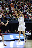 BERKELEY, CA - MARCH 30: Jeanette Pohlen shoots a three during Stanford's 74-53 win against the Iowa State Cyclones on March 30, 2009 at Haas Pavilion in Berkeley, California.