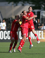 Lori Lindsey (6) Abby Wambach (20) and Alex Singer (21). Washington Freedom defeated FC Gold Pride 4-3 at Buck Shaw Stadium in Santa Clara, California on April 26, 2009.