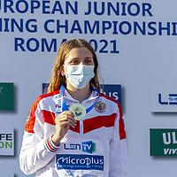 KLEPIKOVA Daria RUS gold<br /> 50 Butterfly women podium<br /> swimming, nuoto<br /> LEN European Junior Swimming Championships 2021<br /> Rome 21710<br /> Stadio Del Nuoto Foro Italico <br /> Photo Alice Mastinu / Deepbluemedia / Insidefoto