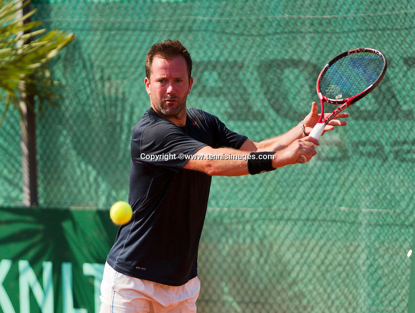 Netherlands, Amstelveen, August 22, 2015, Tennis,  National Veteran Championships, NVK, TV de Kegel,  Men's  45+, Michel van de Sanden<br /> Photo: Tennisimages/Henk Koster