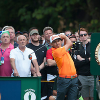 20.07.2014. Hoylake, England. The Open Golf Championship, Final Round.  Rickie FOWLER [USA] tees off with Rory McIlroy in last pairing