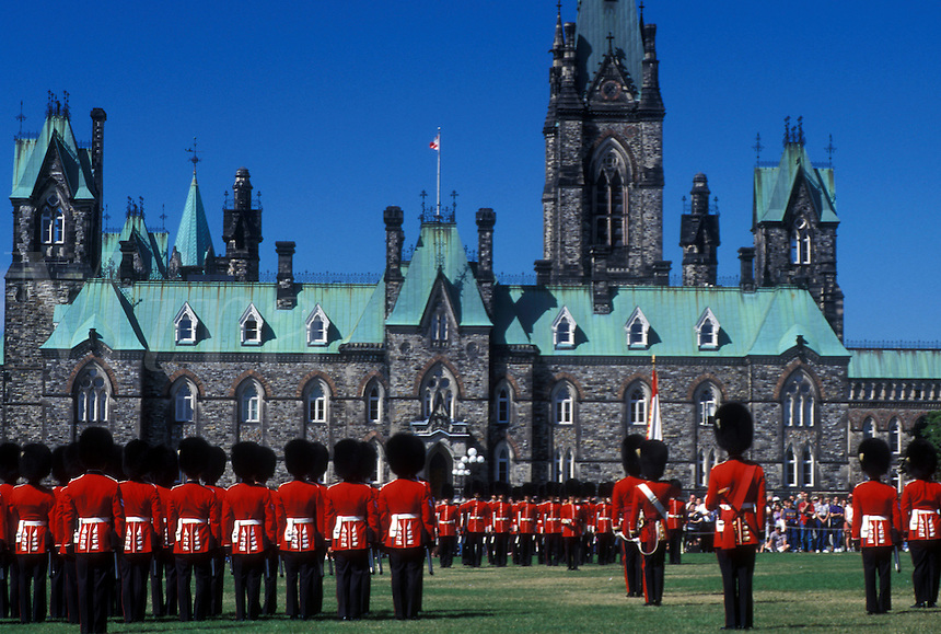 Ottawa, Ontario, Canada, Changing of the Guard on the lawn of Parliament Hill in the capital city of Ottawa.