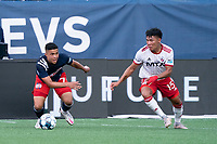 FOXBOROUGH, MA - JUNE 26: Damian Rivera #72 of the New England Revolution prepares to move the ball to center field during a game between North Texas SC and New England Revolution II at Gillette Stadium on June 26, 2021 in Foxborough, Massachusetts.