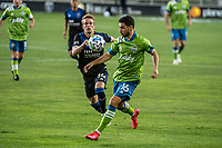 SAN JOSE, CA - OCTOBER 18: Alex Roldan #16 of the Seattle Sounders controls the ball during a game between Seattle Sounders FC and San Jose Earthquakes at Earthquakes Stadium on October 18, 2020 in San Jose, California.