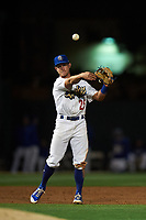 Rancho Cucamonga Quakes third baseman Rylan Bannon (25) makes a throw to first base during a California League game against the Lake Elsinore Storm at LoanMart Field on May 19, 2018 in Rancho Cucamonga, California. Lake Elsinore defeated Rancho Cucamonga 10-7. (Zachary Lucy/Four Seam Images)